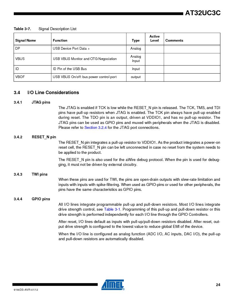 AT32UC3C1512C-AZT ,Atmel厂商,IC MCU 32BIT 512KB FLASH 100TQFP, AT32UC3C1512C-AZT datasheet预览  第24页
