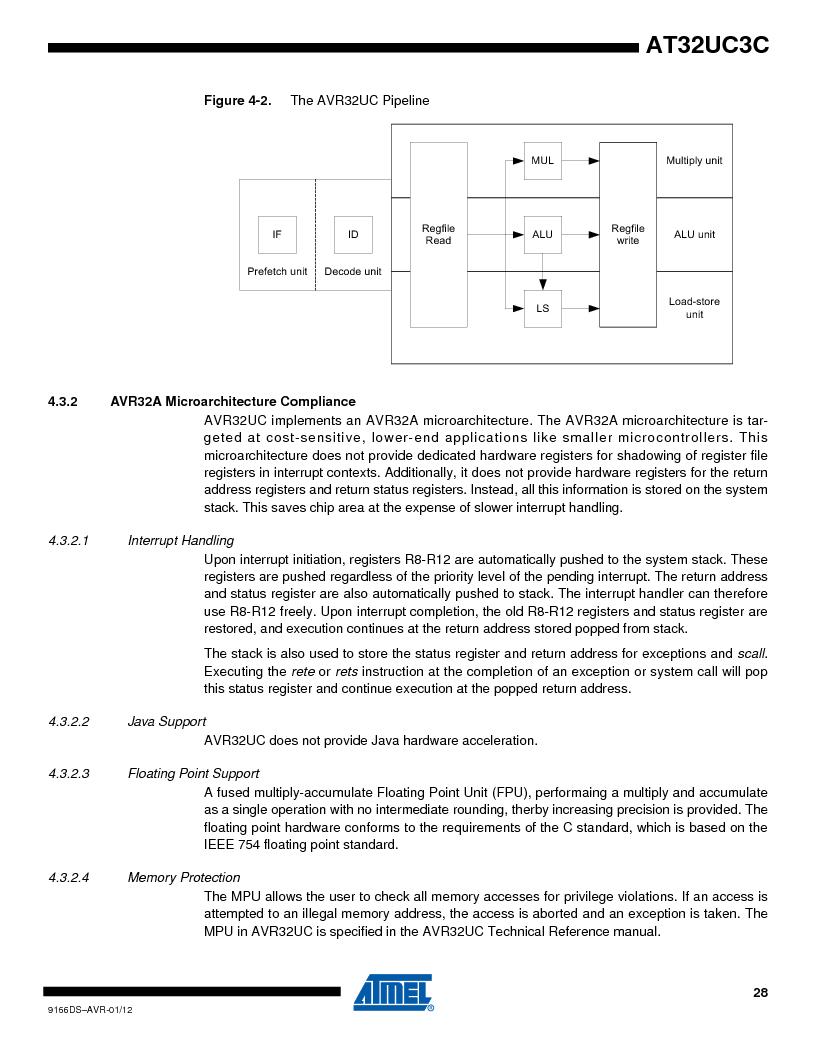 AT32UC3C1512C-AZT ,Atmel厂商,IC MCU 32BIT 512KB FLASH 100TQFP, AT32UC3C1512C-AZT datasheet预览  第28页