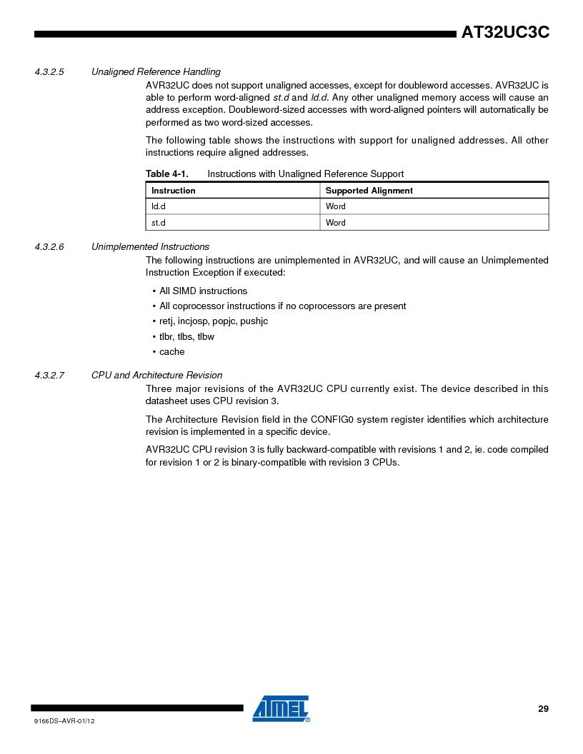 AT32UC3C1512C-AZT ,Atmel厂商,IC MCU 32BIT 512KB FLASH 100TQFP, AT32UC3C1512C-AZT datasheet预览  第29页