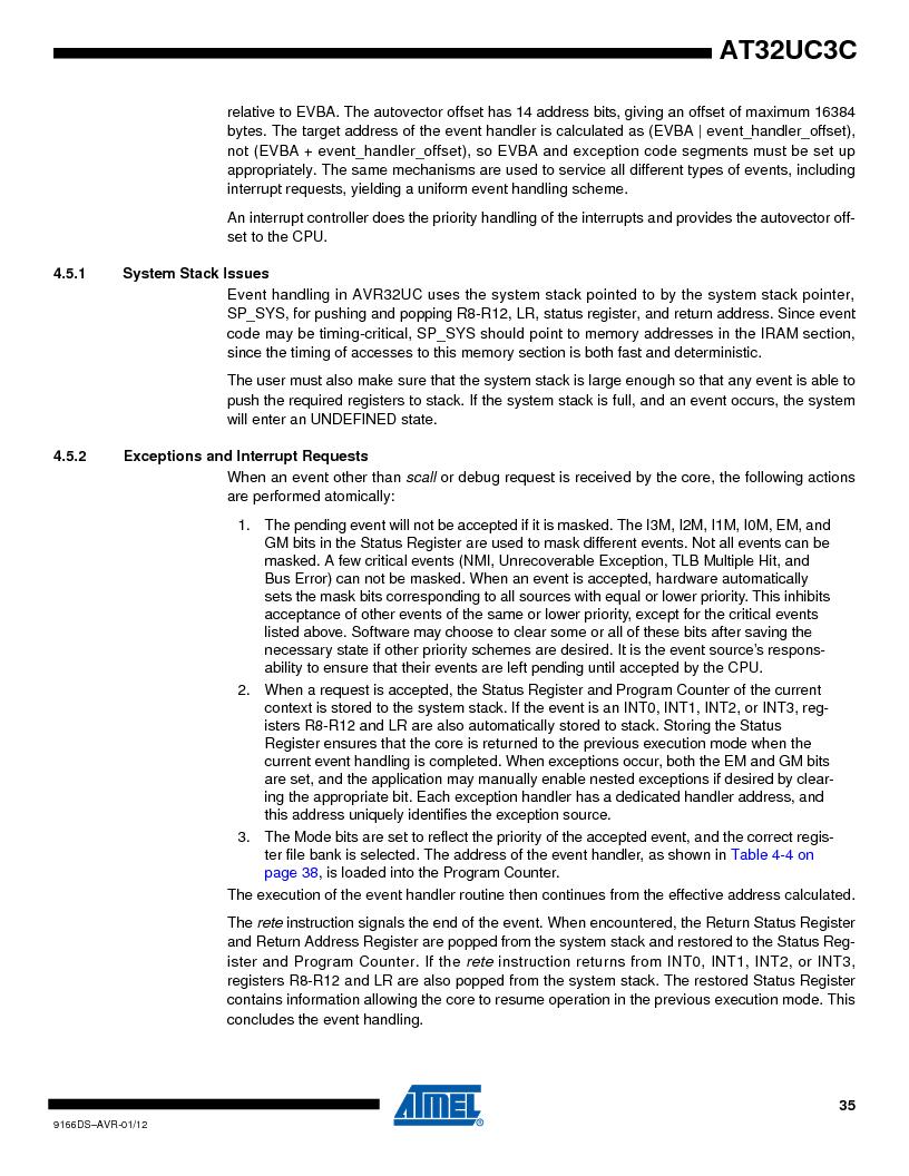 AT32UC3C1512C-AZT ,Atmel厂商,IC MCU 32BIT 512KB FLASH 100TQFP, AT32UC3C1512C-AZT datasheet预览  第35页