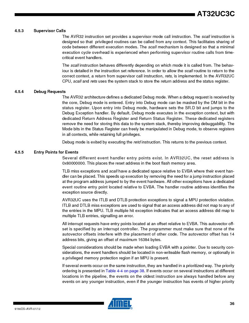 AT32UC3C1512C-AZT ,Atmel厂商,IC MCU 32BIT 512KB FLASH 100TQFP, AT32UC3C1512C-AZT datasheet预览  第36页