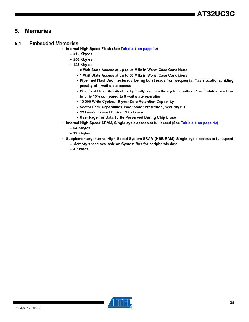 AT32UC3C1512C-AZT ,Atmel厂商,IC MCU 32BIT 512KB FLASH 100TQFP, AT32UC3C1512C-AZT datasheet预览  第39页