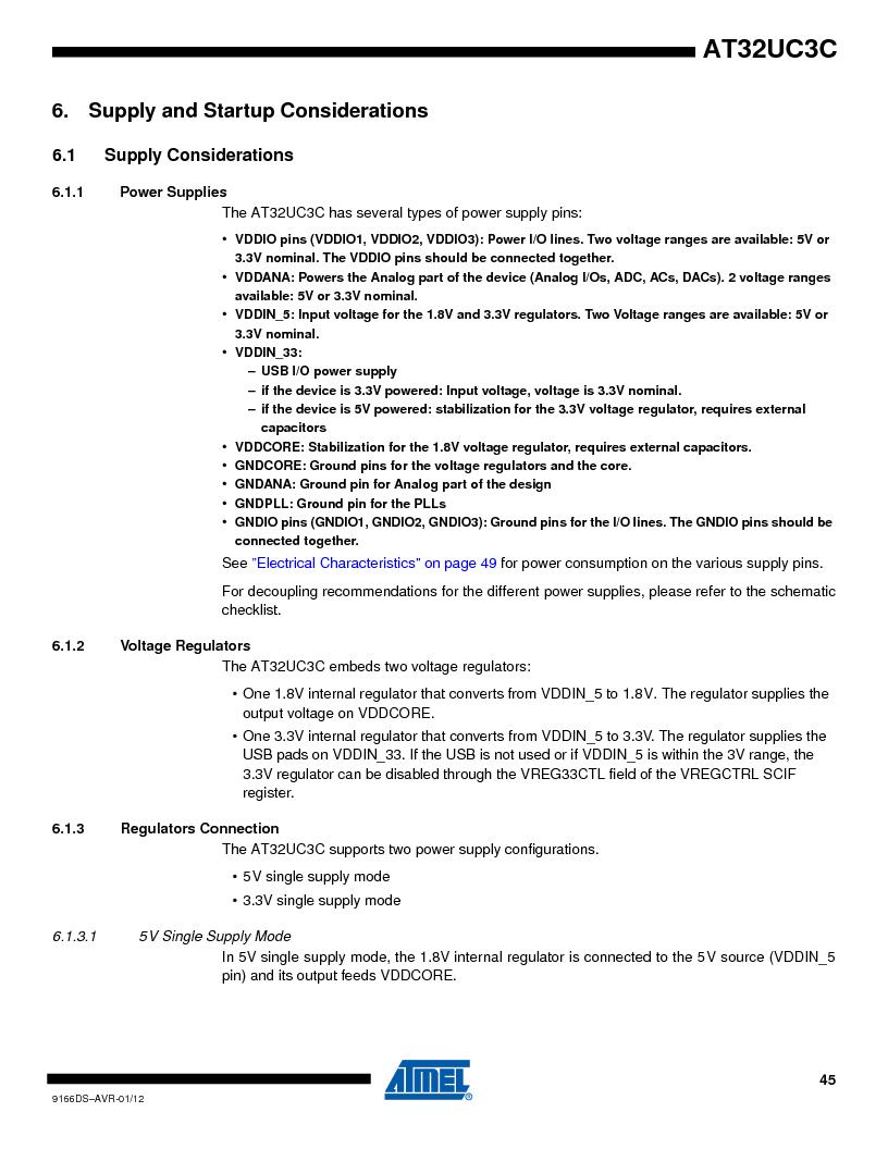 AT32UC3C1512C-AZT ,Atmel厂商,IC MCU 32BIT 512KB FLASH 100TQFP, AT32UC3C1512C-AZT datasheet预览  第45页