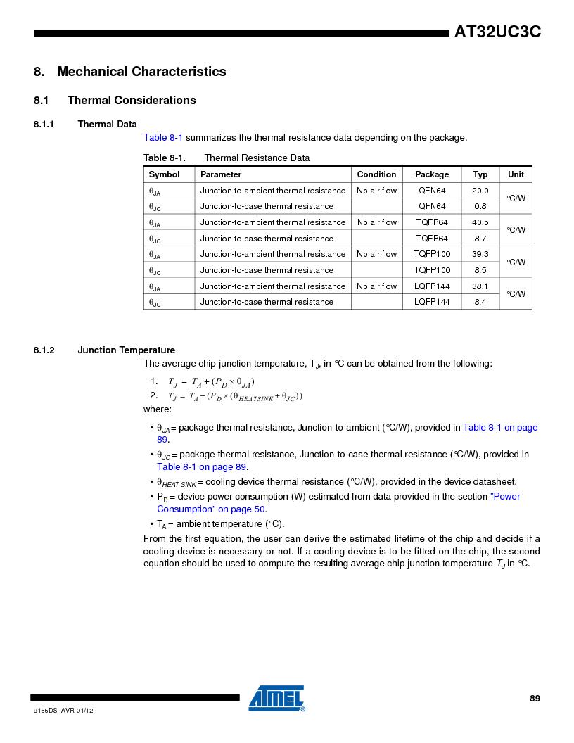 AT32UC3C1512C-AZT ,Atmel厂商,IC MCU 32BIT 512KB FLASH 100TQFP, AT32UC3C1512C-AZT datasheet预览  第89页
