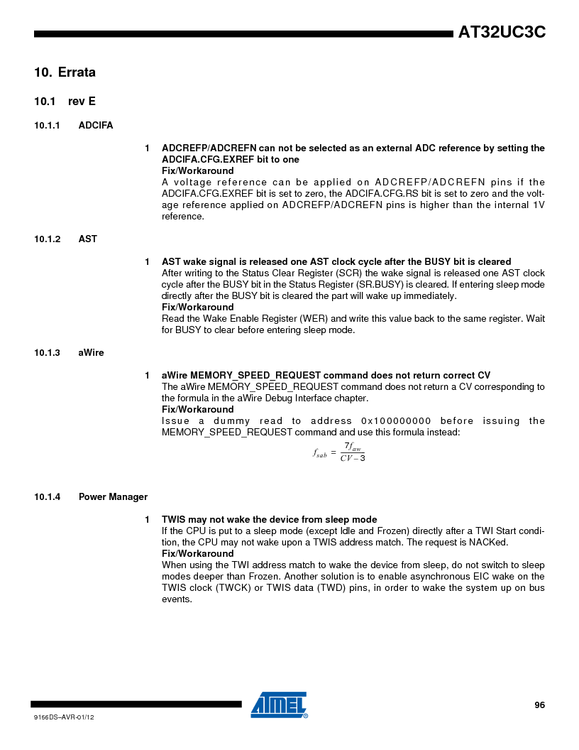 AT32UC3C1512C-AZT ,Atmel厂商,IC MCU 32BIT 512KB FLASH 100TQFP, AT32UC3C1512C-AZT datasheet预览  第96页