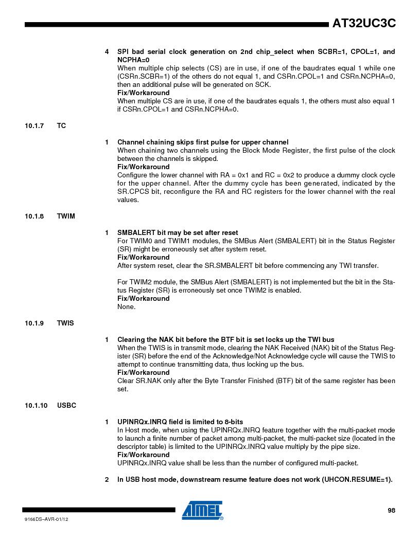 AT32UC3C1512C-AZT ,Atmel厂商,IC MCU 32BIT 512KB FLASH 100TQFP, AT32UC3C1512C-AZT datasheet预览  第98页