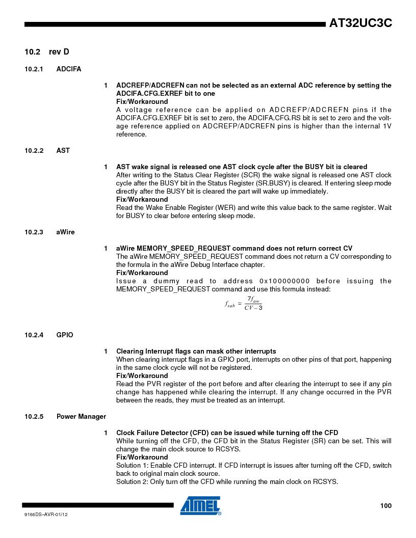 AT32UC3C1512C-AZT ,Atmel厂商,IC MCU 32BIT 512KB FLASH 100TQFP, AT32UC3C1512C-AZT datasheet预览  第100页