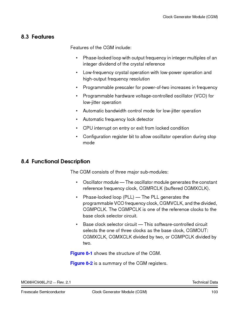 MC908LJ12CFUE ,Freescale Semiconductor厂商,IC MCU 12K FLASH 4/8MHZ 64-QFP, MC908LJ12CFUE datasheet预览  第103页