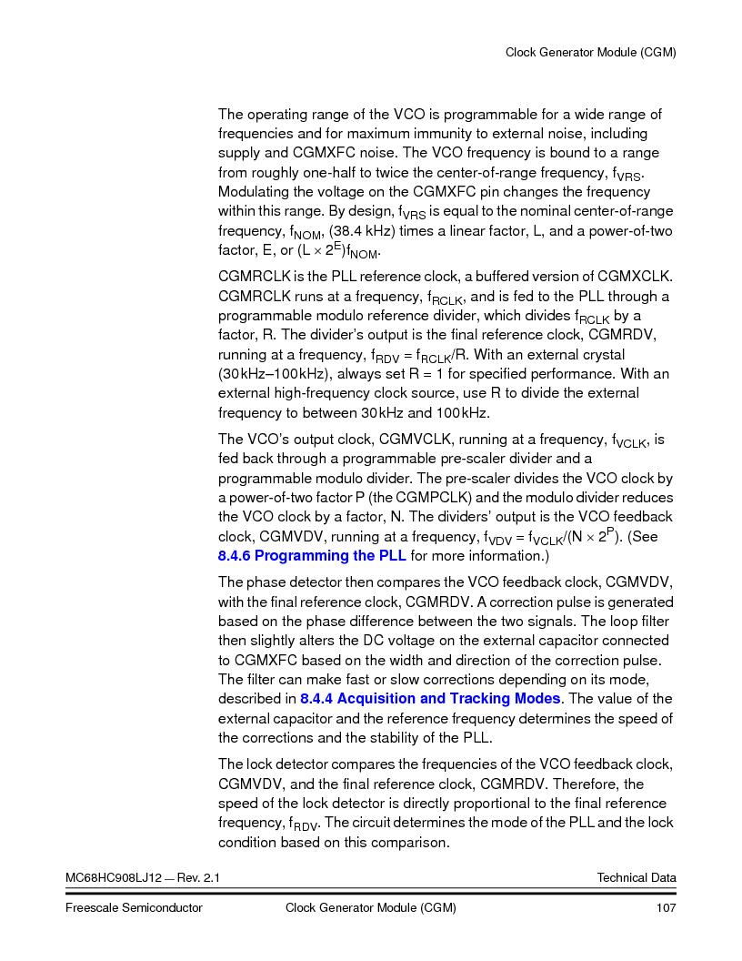 MC908LJ12CFUE ,Freescale Semiconductor厂商,IC MCU 12K FLASH 4/8MHZ 64-QFP, MC908LJ12CFUE datasheet预览  第107页