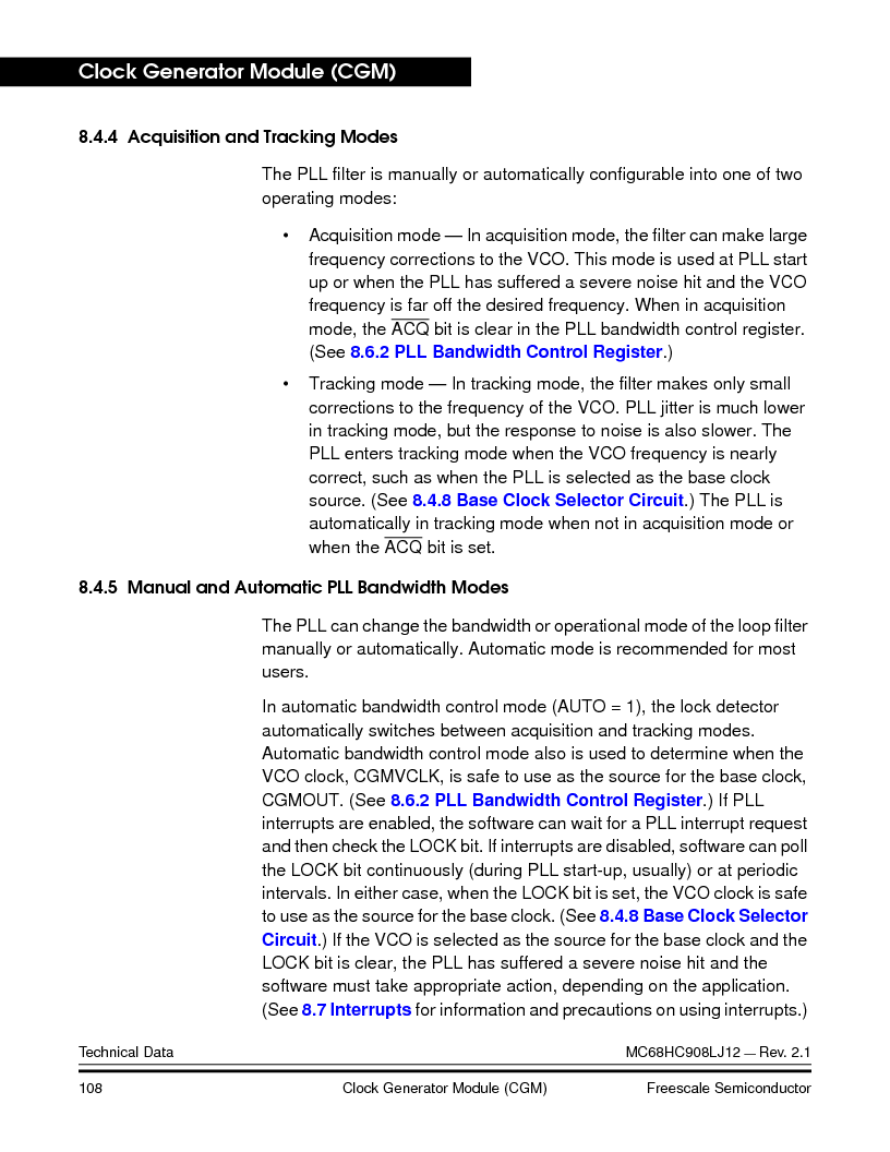 MC908LJ12CFUE ,Freescale Semiconductor厂商,IC MCU 12K FLASH 4/8MHZ 64-QFP, MC908LJ12CFUE datasheet预览  第108页