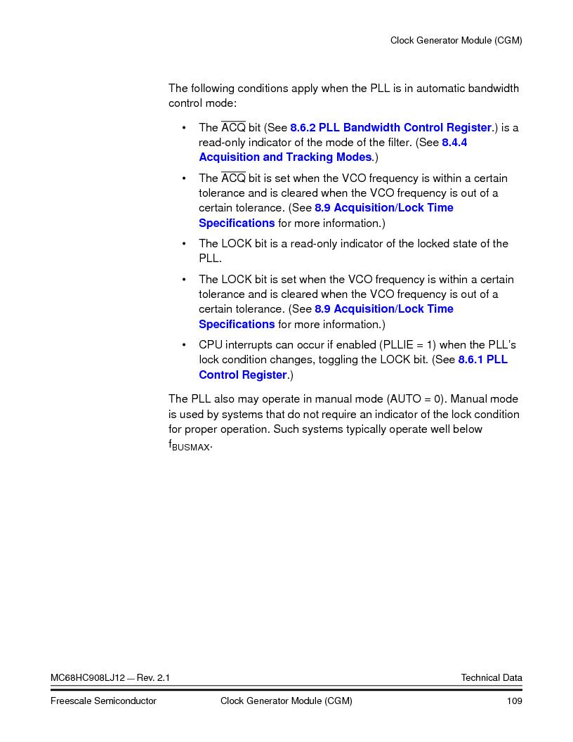 MC908LJ12CFUE ,Freescale Semiconductor厂商,IC MCU 12K FLASH 4/8MHZ 64-QFP, MC908LJ12CFUE datasheet预览  第109页