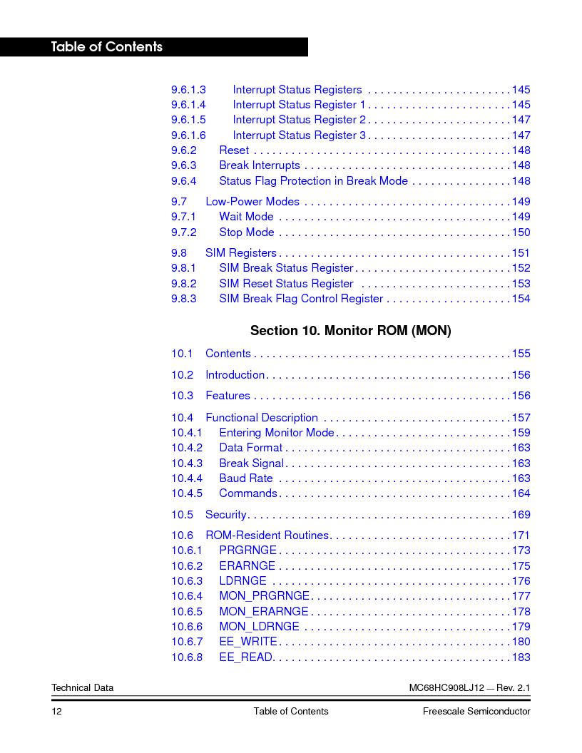 MC908LJ12CFUE ,Freescale Semiconductor厂商,IC MCU 12K FLASH 4/8MHZ 64-QFP, MC908LJ12CFUE datasheet预览  第12页