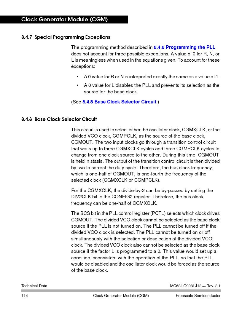 MC908LJ12CFUE ,Freescale Semiconductor厂商,IC MCU 12K FLASH 4/8MHZ 64-QFP, MC908LJ12CFUE datasheet预览  第114页