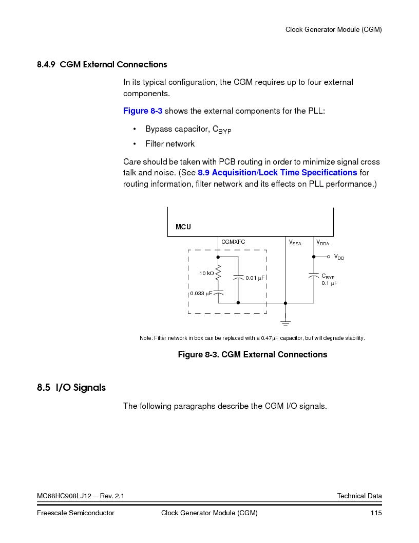 MC908LJ12CFUE ,Freescale Semiconductor厂商,IC MCU 12K FLASH 4/8MHZ 64-QFP, MC908LJ12CFUE datasheet预览  第115页