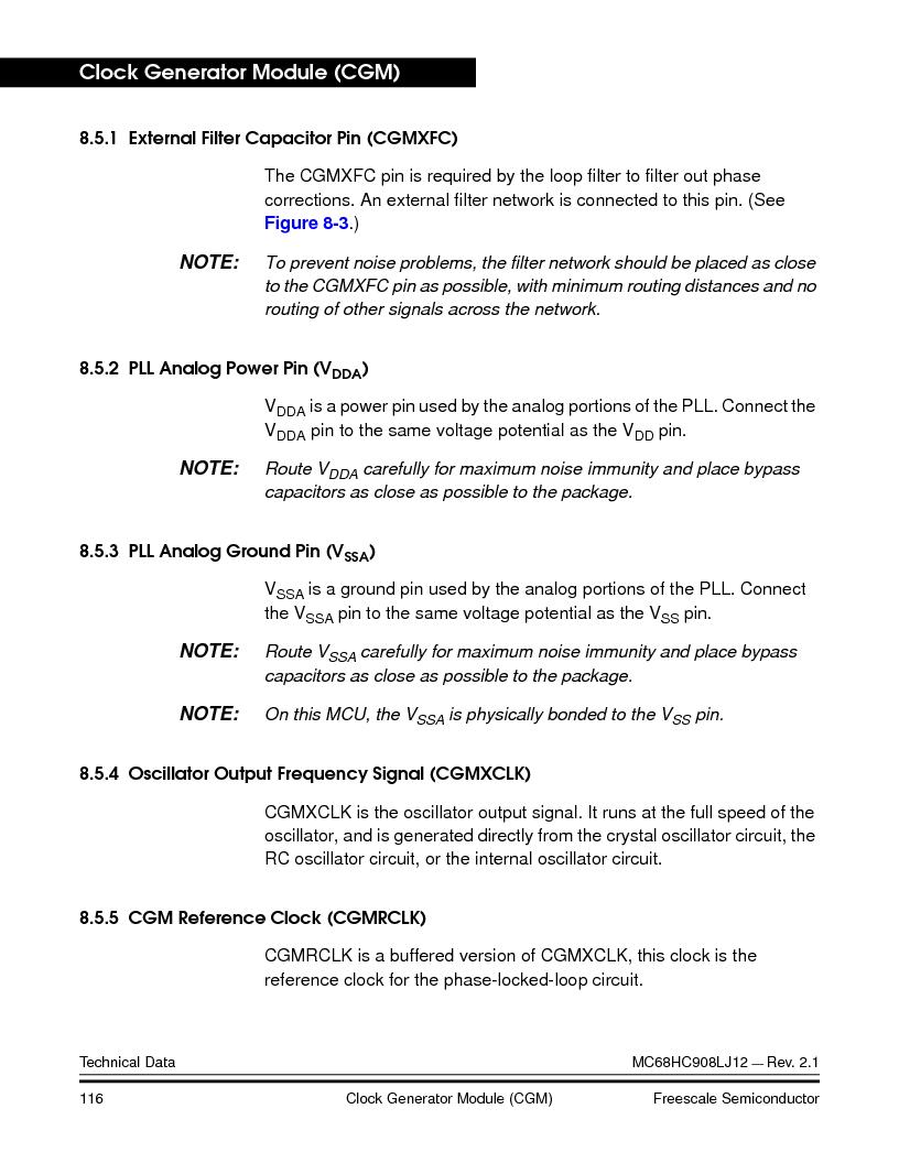 MC908LJ12CFUE ,Freescale Semiconductor厂商,IC MCU 12K FLASH 4/8MHZ 64-QFP, MC908LJ12CFUE datasheet预览  第116页