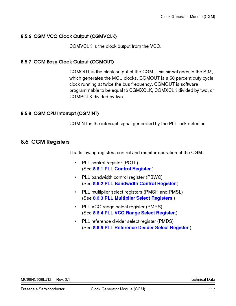 MC908LJ12CFUE ,Freescale Semiconductor厂商,IC MCU 12K FLASH 4/8MHZ 64-QFP, MC908LJ12CFUE datasheet预览  第117页