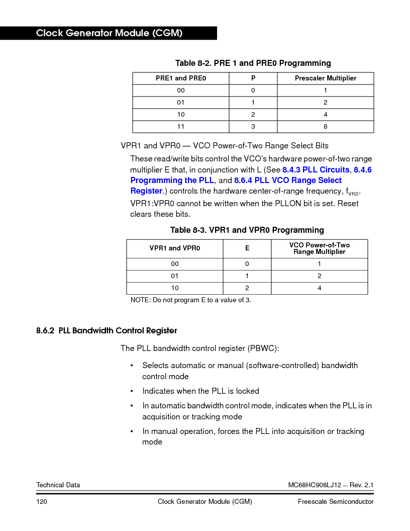 MC908LJ12CFUE ,Freescale Semiconductor厂商,IC MCU 12K FLASH 4/8MHZ 64-QFP, MC908LJ12CFUE datasheet预览  第120页