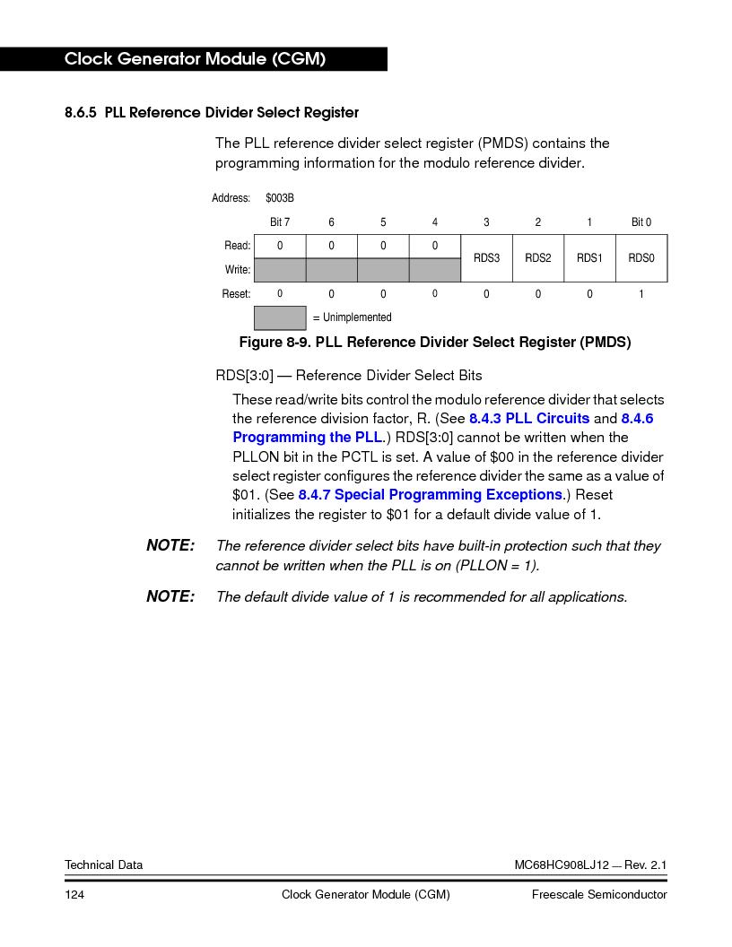 MC908LJ12CFUE ,Freescale Semiconductor厂商,IC MCU 12K FLASH 4/8MHZ 64-QFP, MC908LJ12CFUE datasheet预览  第124页