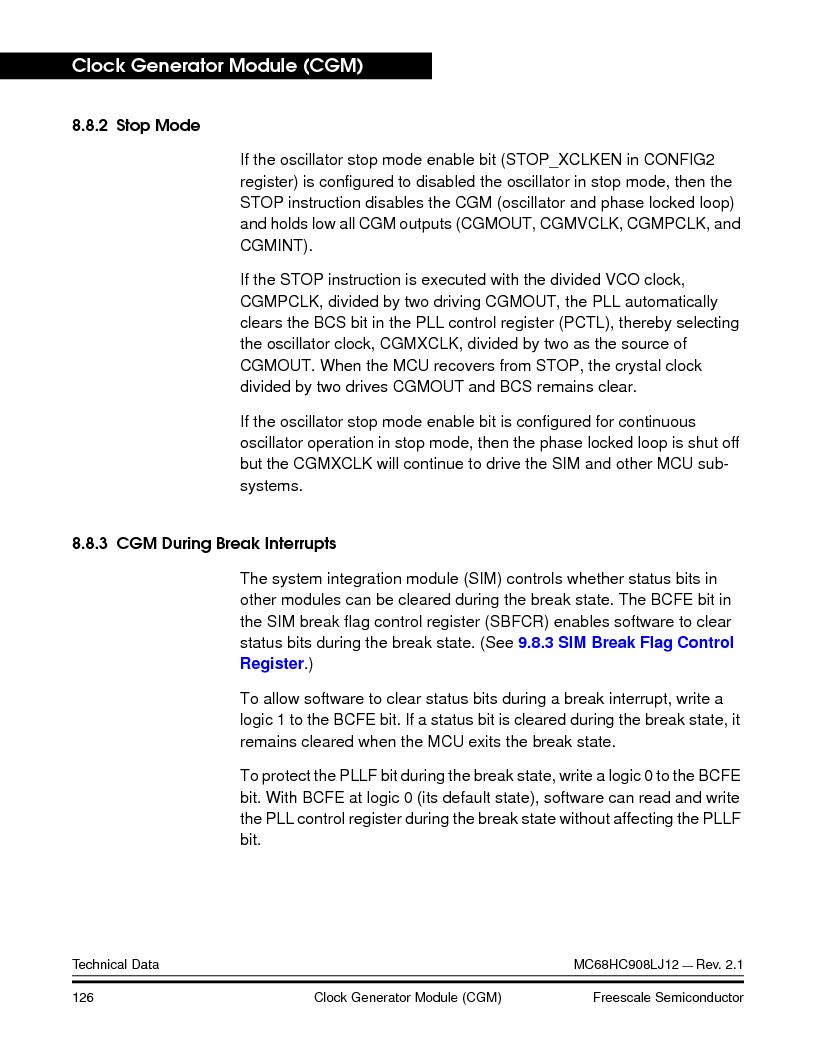 MC908LJ12CFUE ,Freescale Semiconductor厂商,IC MCU 12K FLASH 4/8MHZ 64-QFP, MC908LJ12CFUE datasheet预览  第126页