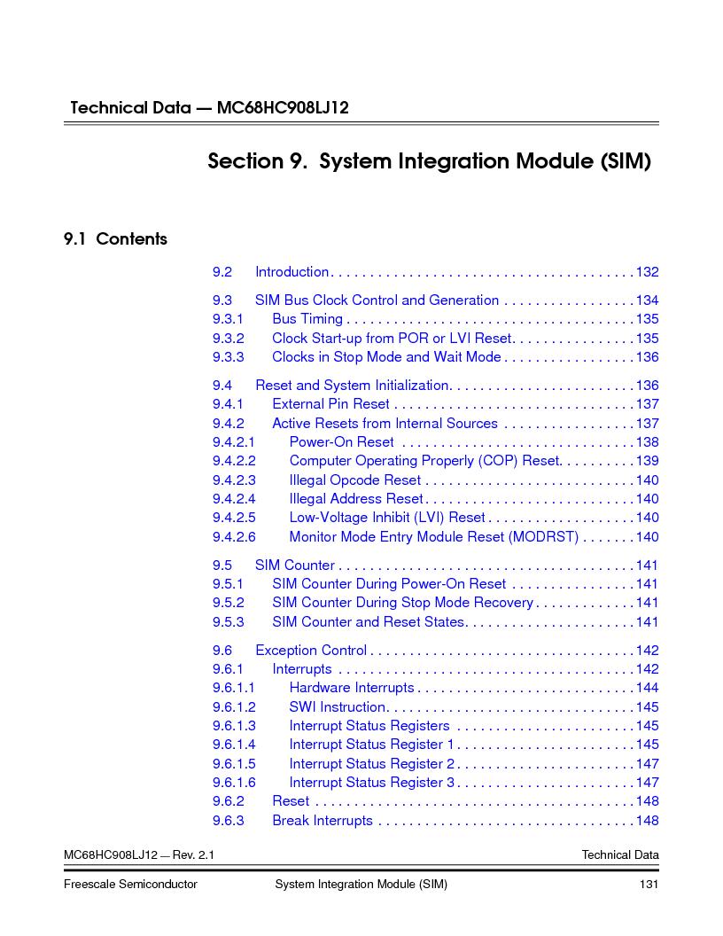 MC908LJ12CFUE ,Freescale Semiconductor厂商,IC MCU 12K FLASH 4/8MHZ 64-QFP, MC908LJ12CFUE datasheet预览  第131页