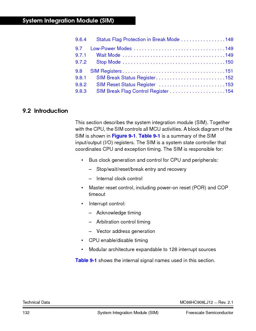 MC908LJ12CFUE ,Freescale Semiconductor厂商,IC MCU 12K FLASH 4/8MHZ 64-QFP, MC908LJ12CFUE datasheet预览  第132页