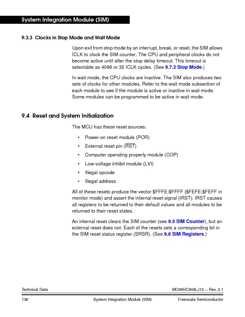 MC908LJ12CFUE ,Freescale Semiconductor厂商,IC MCU 12K FLASH 4/8MHZ 64-QFP, MC908LJ12CFUE datasheet预览  第136页