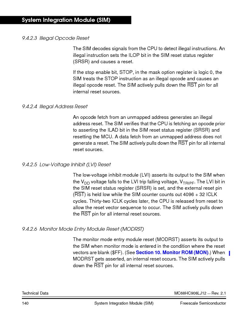 MC908LJ12CFUE ,Freescale Semiconductor厂商,IC MCU 12K FLASH 4/8MHZ 64-QFP, MC908LJ12CFUE datasheet预览  第140页