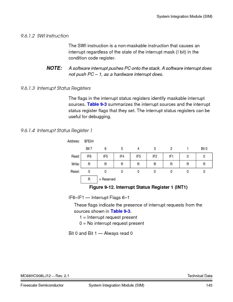 MC908LJ12CFUE ,Freescale Semiconductor厂商,IC MCU 12K FLASH 4/8MHZ 64-QFP, MC908LJ12CFUE datasheet预览  第145页