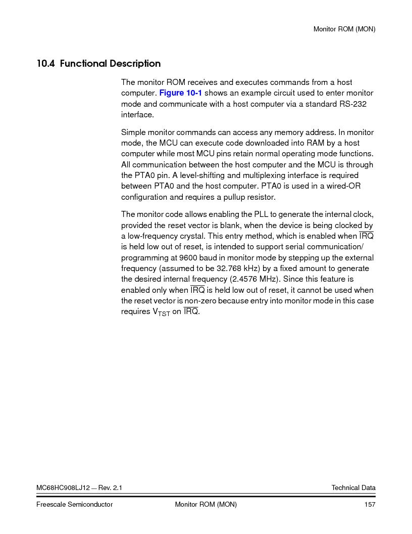MC908LJ12CFUE ,Freescale Semiconductor厂商,IC MCU 12K FLASH 4/8MHZ 64-QFP, MC908LJ12CFUE datasheet预览  第157页