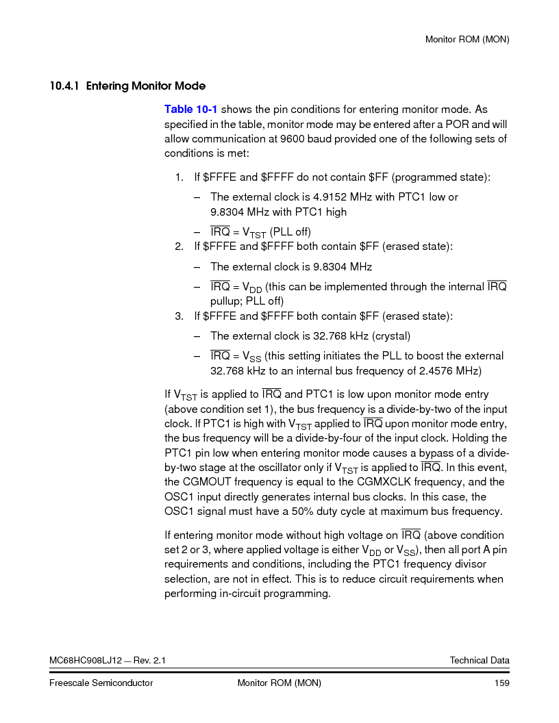 MC908LJ12CFUE ,Freescale Semiconductor厂商,IC MCU 12K FLASH 4/8MHZ 64-QFP, MC908LJ12CFUE datasheet预览  第159页