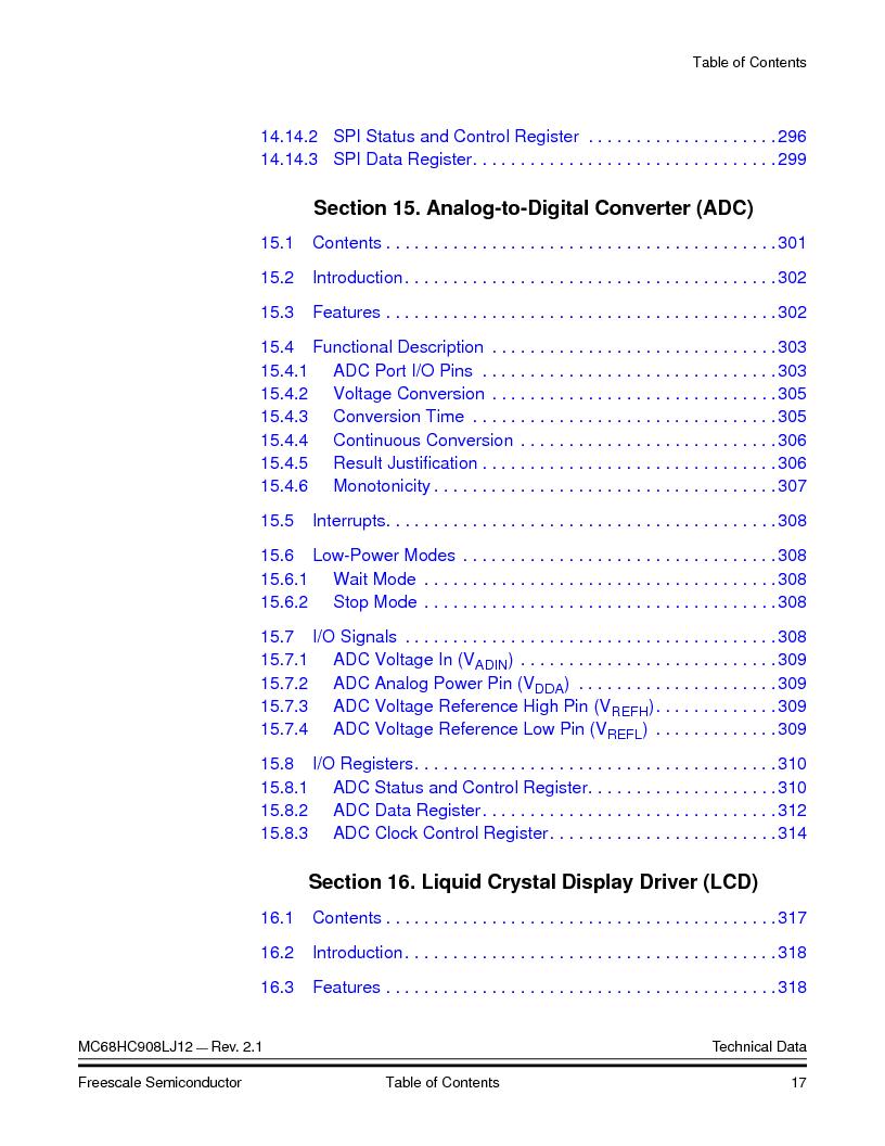 MC908LJ12CFUE ,Freescale Semiconductor厂商,IC MCU 12K FLASH 4/8MHZ 64-QFP, MC908LJ12CFUE datasheet预览  第17页