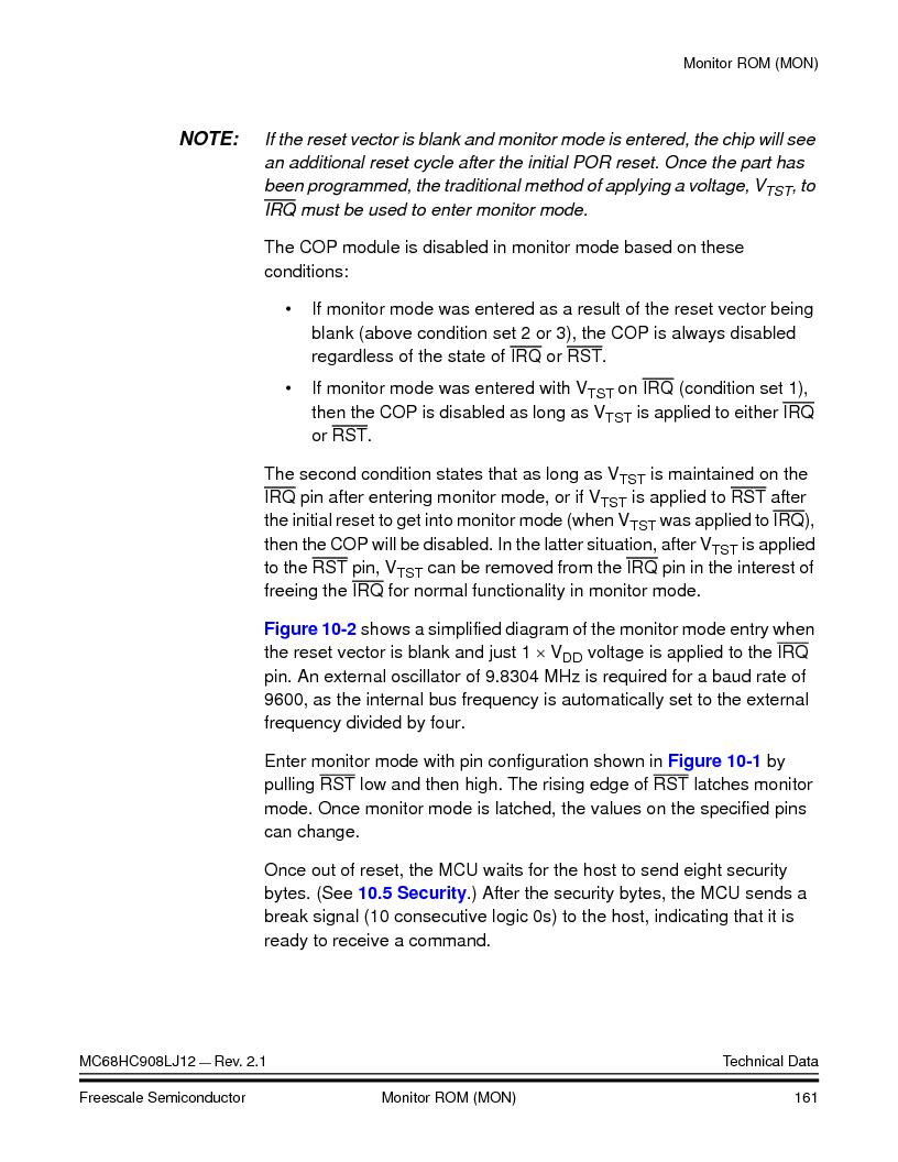 MC908LJ12CFUE ,Freescale Semiconductor厂商,IC MCU 12K FLASH 4/8MHZ 64-QFP, MC908LJ12CFUE datasheet预览  第161页
