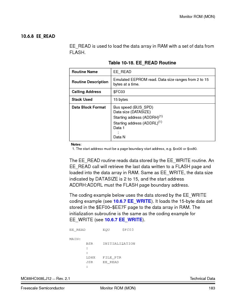 MC908LJ12CFUE ,Freescale Semiconductor厂商,IC MCU 12K FLASH 4/8MHZ 64-QFP, MC908LJ12CFUE datasheet预览  第183页