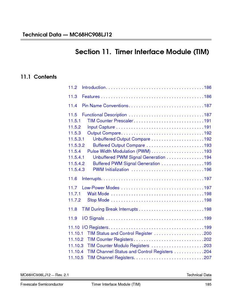 MC908LJ12CFUE ,Freescale Semiconductor厂商,IC MCU 12K FLASH 4/8MHZ 64-QFP, MC908LJ12CFUE datasheet预览  第185页