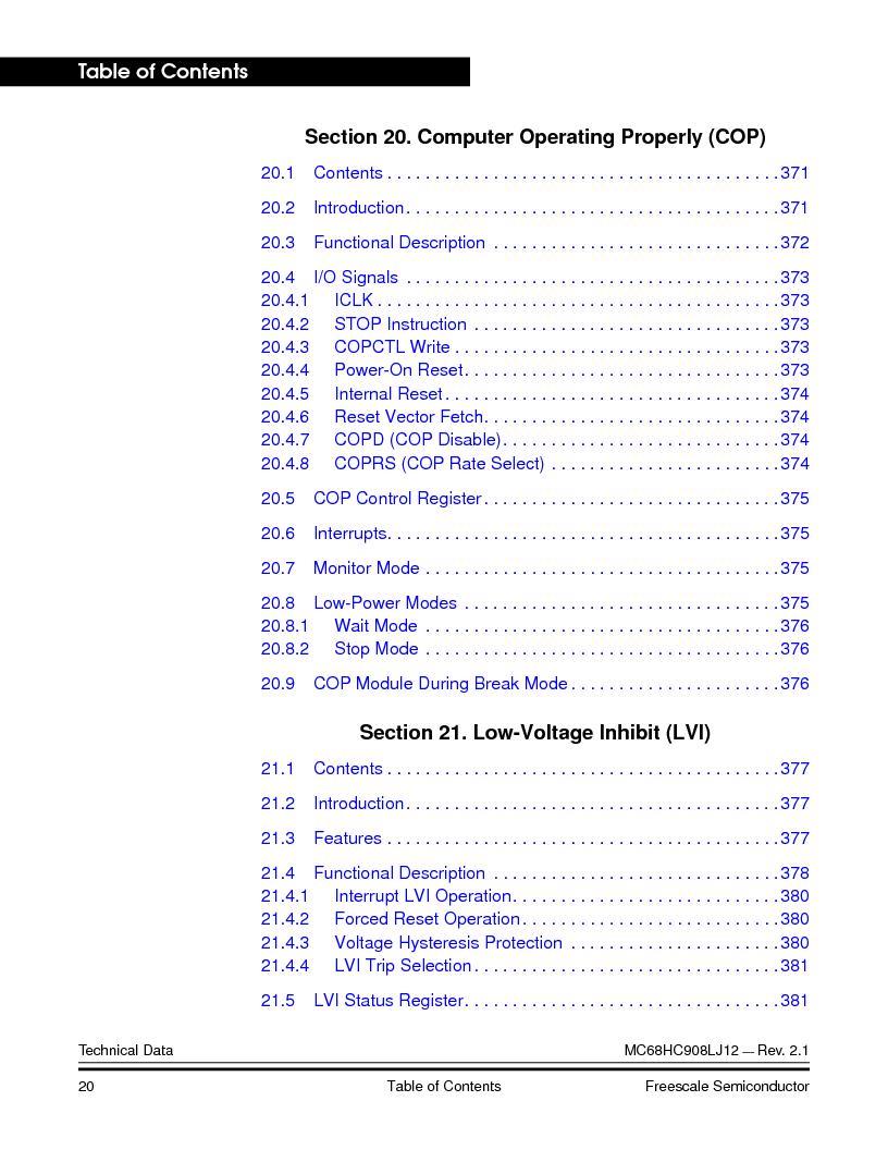 MC908LJ12CFUE ,Freescale Semiconductor厂商,IC MCU 12K FLASH 4/8MHZ 64-QFP, MC908LJ12CFUE datasheet预览  第20页