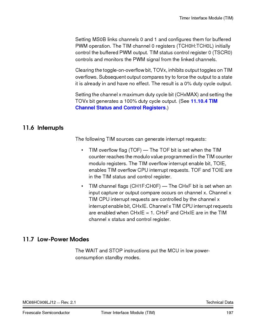 MC908LJ12CFUE ,Freescale Semiconductor厂商,IC MCU 12K FLASH 4/8MHZ 64-QFP, MC908LJ12CFUE datasheet预览  第197页