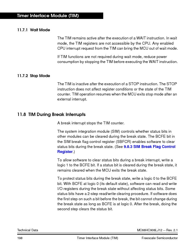 MC908LJ12CFUE ,Freescale Semiconductor厂商,IC MCU 12K FLASH 4/8MHZ 64-QFP, MC908LJ12CFUE datasheet预览  第198页