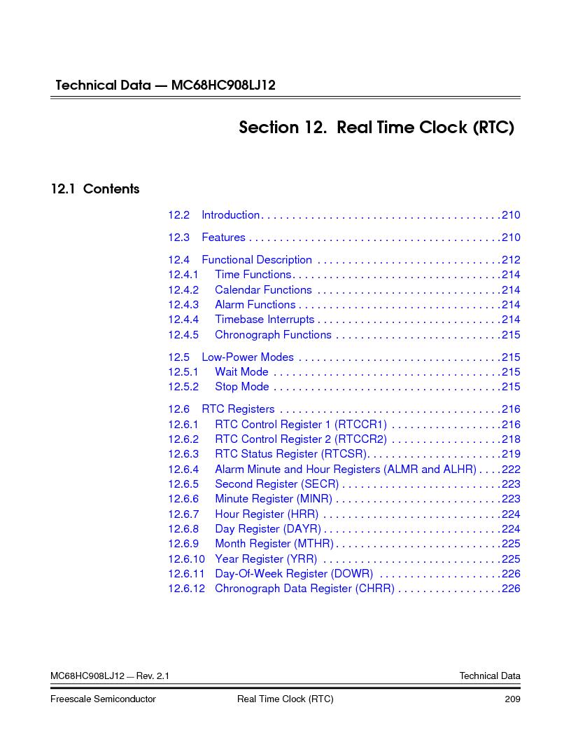 MC908LJ12CFUE ,Freescale Semiconductor厂商,IC MCU 12K FLASH 4/8MHZ 64-QFP, MC908LJ12CFUE datasheet预览  第209页