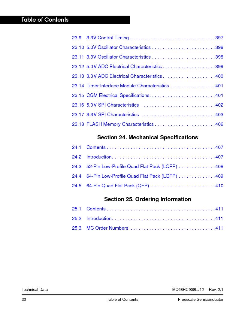 MC908LJ12CFUE ,Freescale Semiconductor厂商,IC MCU 12K FLASH 4/8MHZ 64-QFP, MC908LJ12CFUE datasheet预览  第22页