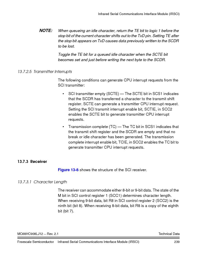 MC908LJ12CFUE ,Freescale Semiconductor厂商,IC MCU 12K FLASH 4/8MHZ 64-QFP, MC908LJ12CFUE datasheet预览  第239页