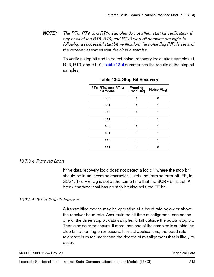 MC908LJ12CFUE ,Freescale Semiconductor厂商,IC MCU 12K FLASH 4/8MHZ 64-QFP, MC908LJ12CFUE datasheet预览  第243页