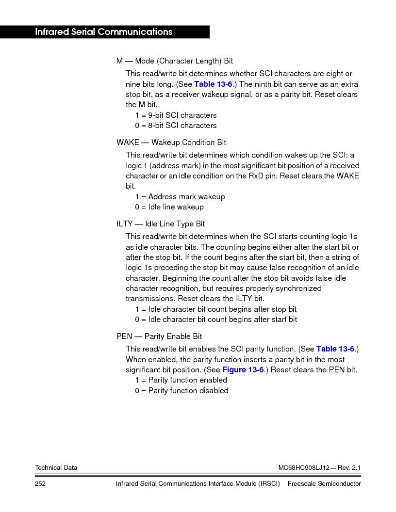 MC908LJ12CFUE ,Freescale Semiconductor厂商,IC MCU 12K FLASH 4/8MHZ 64-QFP, MC908LJ12CFUE datasheet预览  第252页