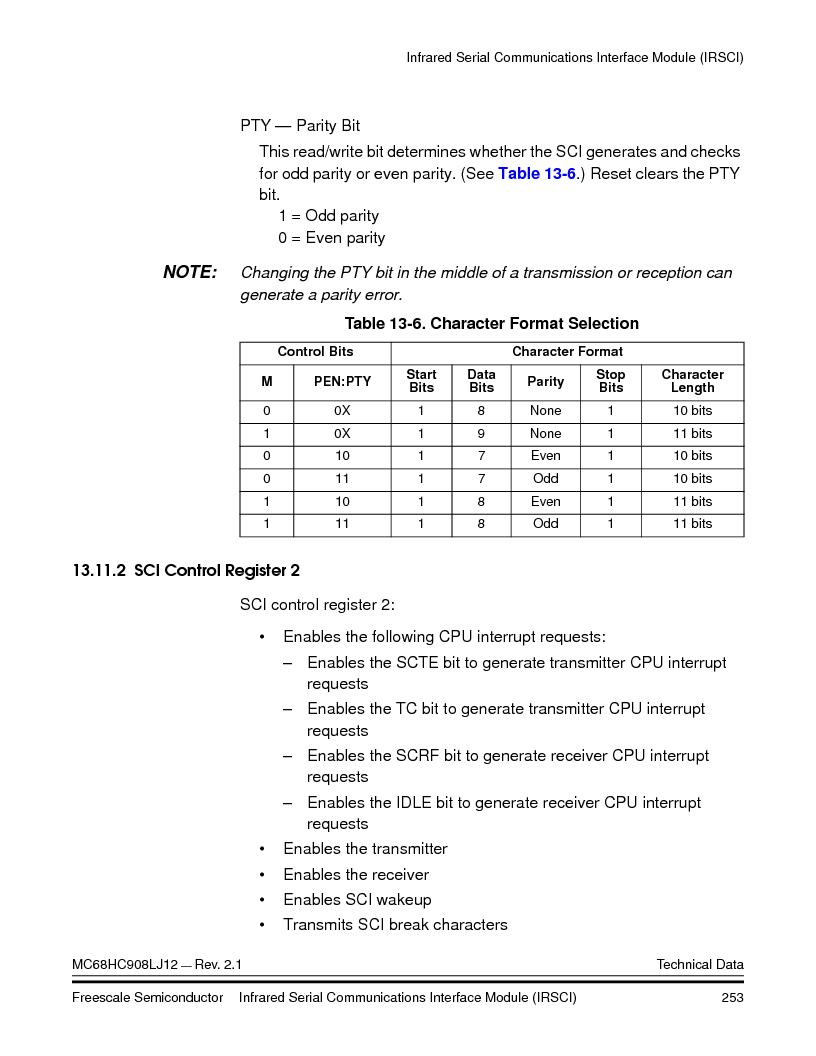 MC908LJ12CFUE ,Freescale Semiconductor厂商,IC MCU 12K FLASH 4/8MHZ 64-QFP, MC908LJ12CFUE datasheet预览  第253页