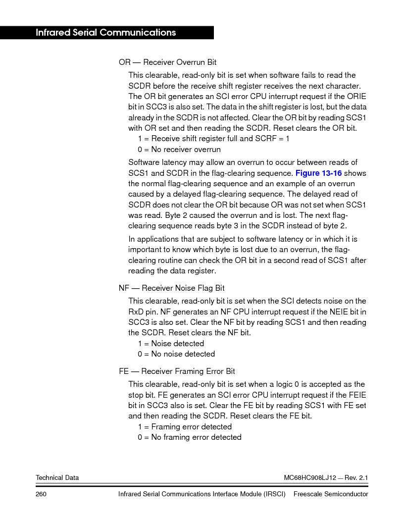 MC908LJ12CFUE ,Freescale Semiconductor厂商,IC MCU 12K FLASH 4/8MHZ 64-QFP, MC908LJ12CFUE datasheet预览  第260页