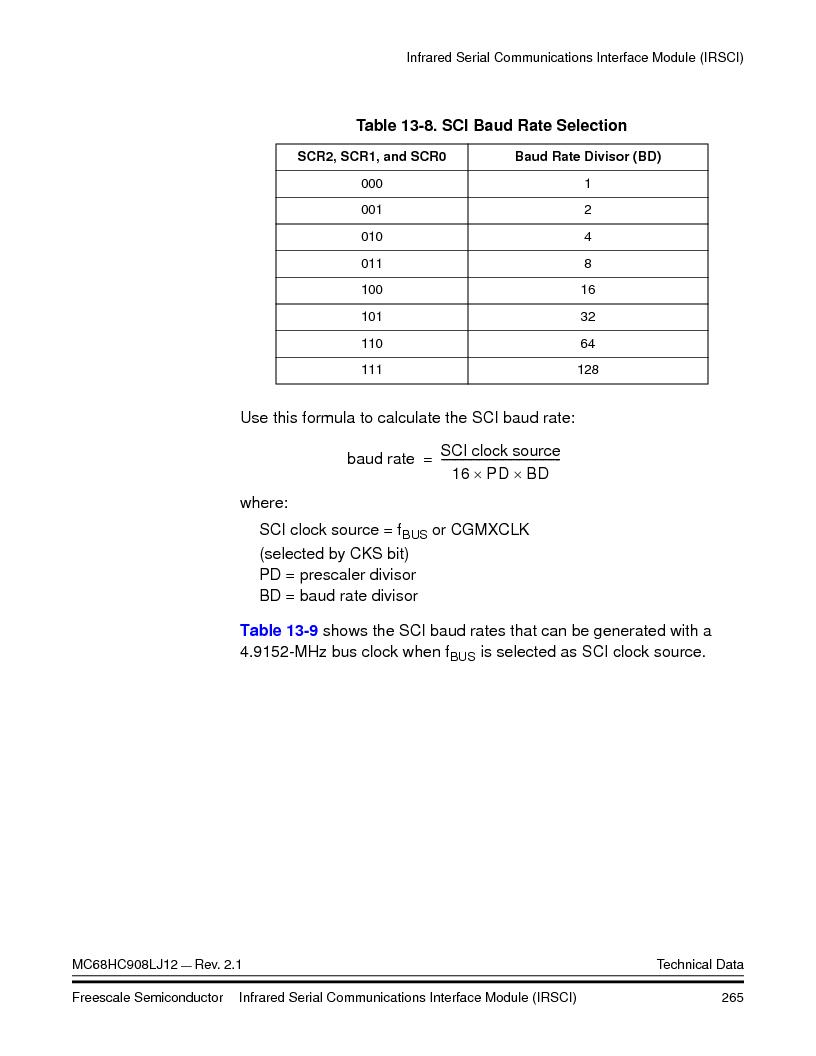 MC908LJ12CFUE ,Freescale Semiconductor厂商,IC MCU 12K FLASH 4/8MHZ 64-QFP, MC908LJ12CFUE datasheet预览  第265页