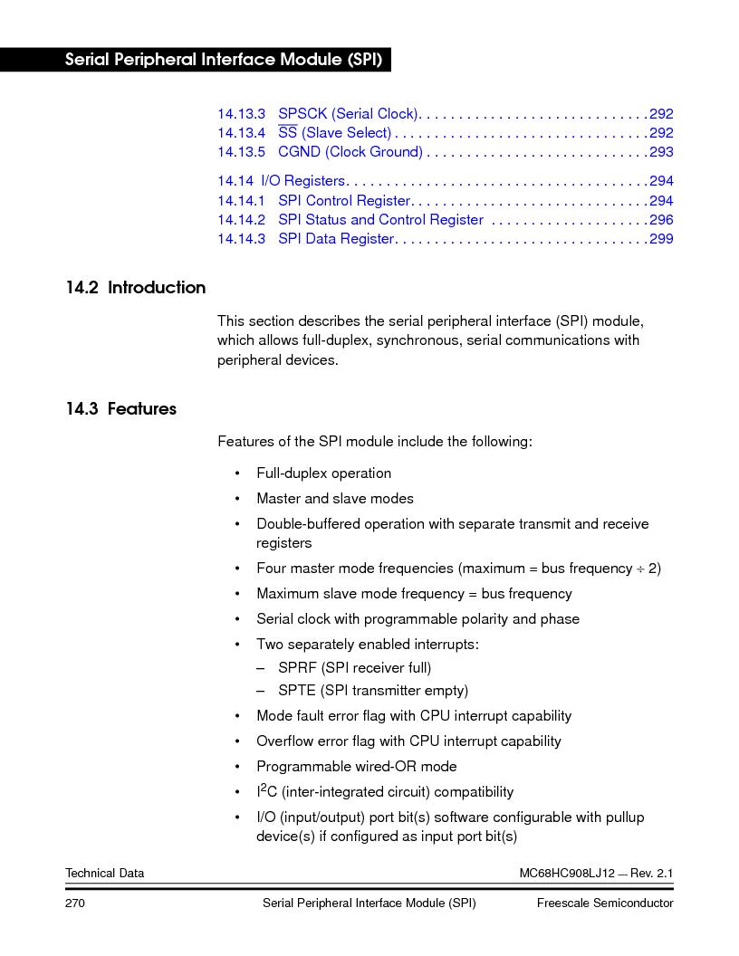 MC908LJ12CFUE ,Freescale Semiconductor厂商,IC MCU 12K FLASH 4/8MHZ 64-QFP, MC908LJ12CFUE datasheet预览  第270页