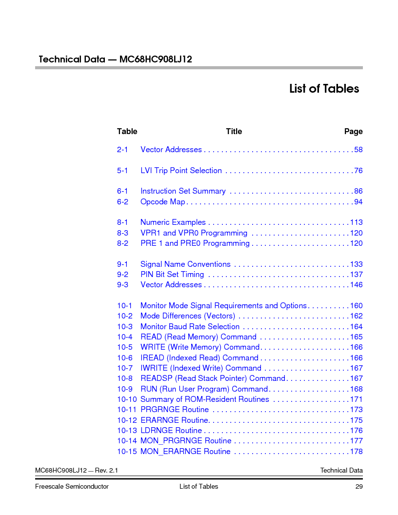 MC908LJ12CFUE ,Freescale Semiconductor厂商,IC MCU 12K FLASH 4/8MHZ 64-QFP, MC908LJ12CFUE datasheet预览  第29页