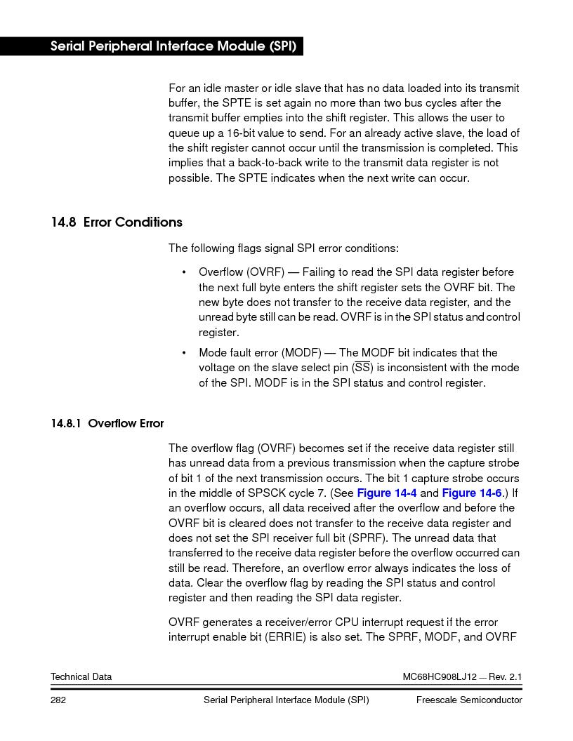 MC908LJ12CFUE ,Freescale Semiconductor厂商,IC MCU 12K FLASH 4/8MHZ 64-QFP, MC908LJ12CFUE datasheet预览  第282页