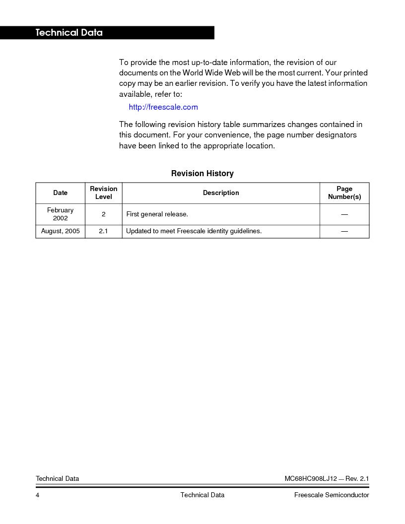 MC908LJ12CFUE ,Freescale Semiconductor厂商,IC MCU 12K FLASH 4/8MHZ 64-QFP, MC908LJ12CFUE datasheet预览  第4页
