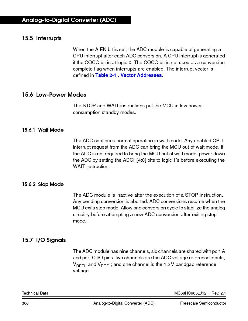 MC908LJ12CFUE ,Freescale Semiconductor厂商,IC MCU 12K FLASH 4/8MHZ 64-QFP, MC908LJ12CFUE datasheet预览  第308页